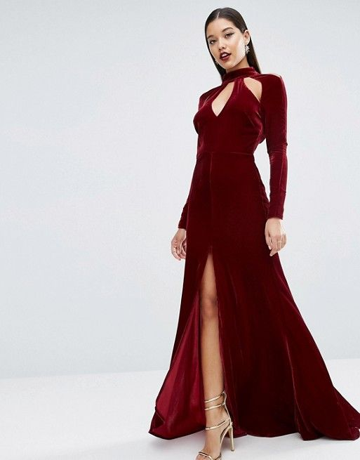 RED CARPET Velvet Keyhole Fishtail Maxi Dress