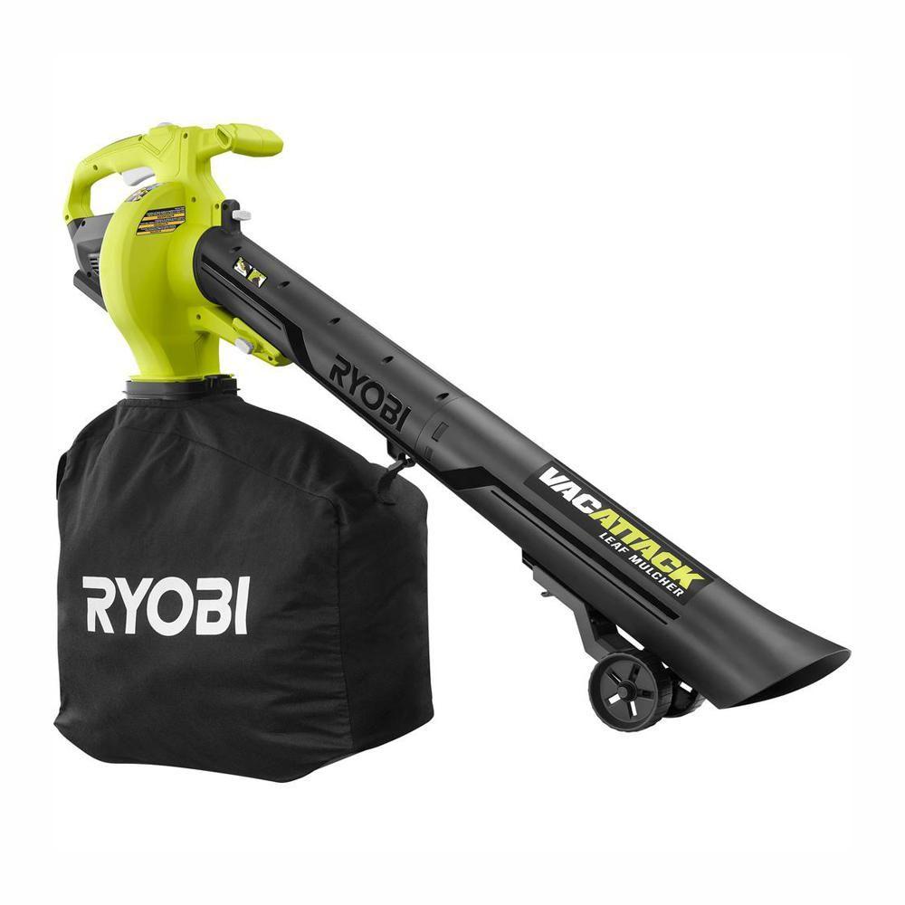 Ryobi 40 Volt Lithium Ion Cordless Battery Leaf Vacuum Mulcher Tool Only Ry40405btl The Home Depot Ryobi Mulching Cordless