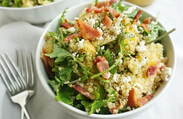 This recipe for Bacon Quinoa Salad with Lemon Dijon Dressing (brought to you by Rachel from Savoring Simple) is a fresh, colorful salad that's great with grilled meats, or on its own as a meal.