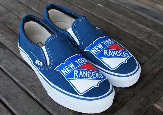 Custom Hand Painted New York Rangers Navy Slip On By Bstreetshoes 149 00 New York Rangers Vans Ranger