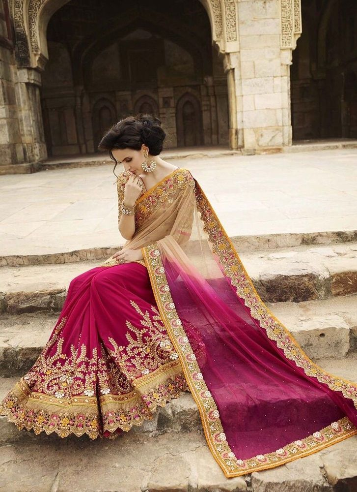 Party wear wedding sari bridal lehenga indian saree for Indian wedding dresses usa