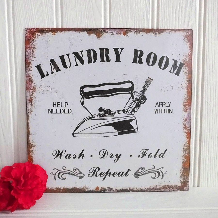 Laundry Wall Plaque New Vintage Retro Style 'laundry Room' Metal Wall Plaquewash Dry Review