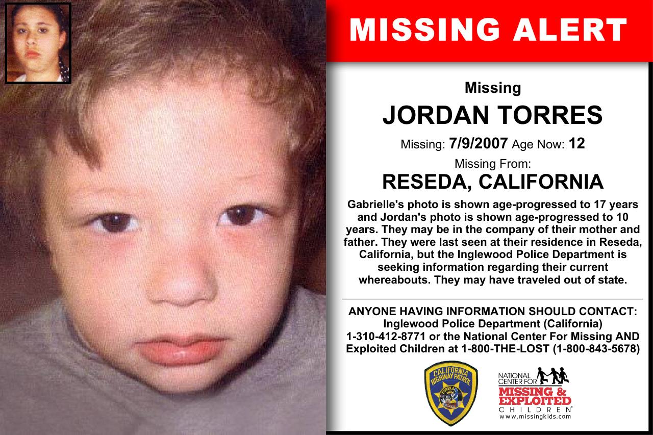 JORDAN TORRES, Age Now: 12, Missing: 07/09/2007  Missing From RESEDA