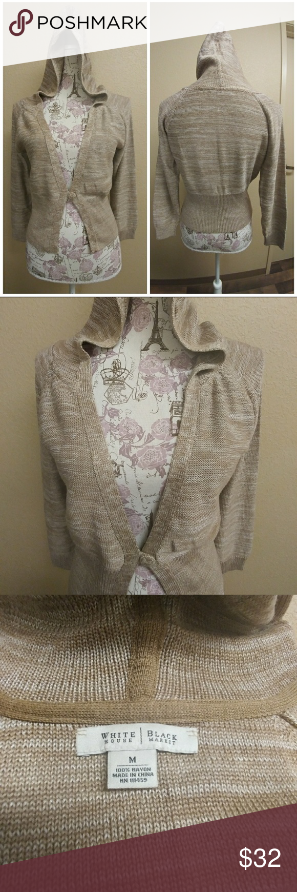 WHBM WITH HOODIE GREAT CONDITION. One button sweater with hoodie. White House Black Market Sweaters