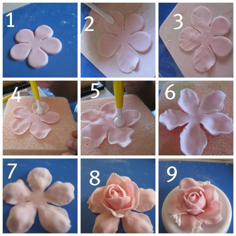 Now I Ll Show You How To Make Rose Cupcake Topper With Fondan Dan Mix With Gumpaste And The Tools A Fondant Rose Tutorial Fondant Flower Tutorial Fondant Rose