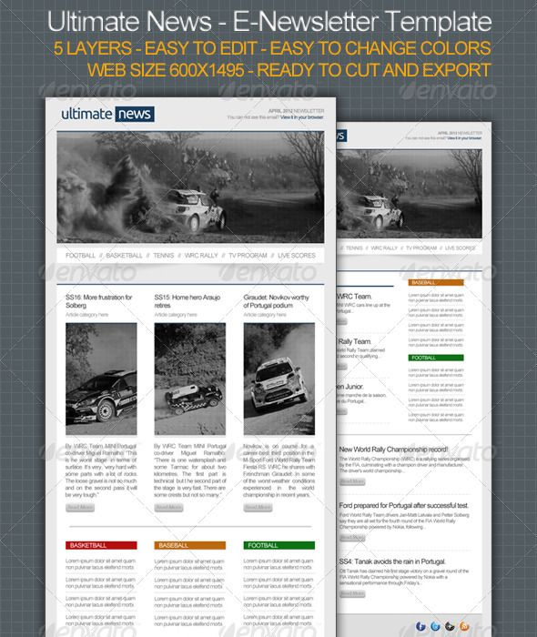 Ultimate News  ENewsletter Template  Newsletter Templates