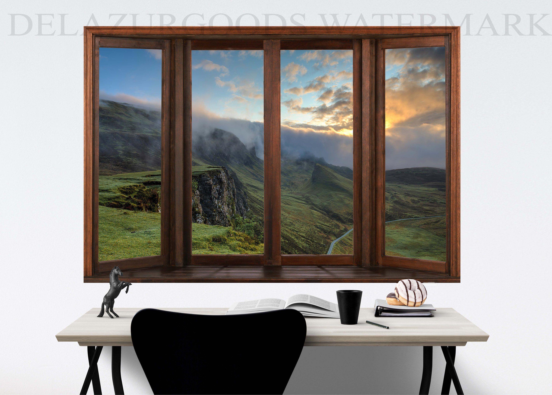 Scotland Window View Wallpaper Peel And Stick Etsy Window View View Wallpaper Windows