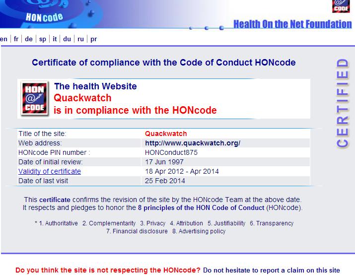 Quackwatch HONcode certificate