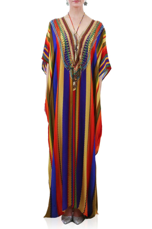 Rainbow Shahida Parides Kaftan Dress Kaftan Dress Silk Kaftan Beautiful Dress Designs [ 1324 x 880 Pixel ]