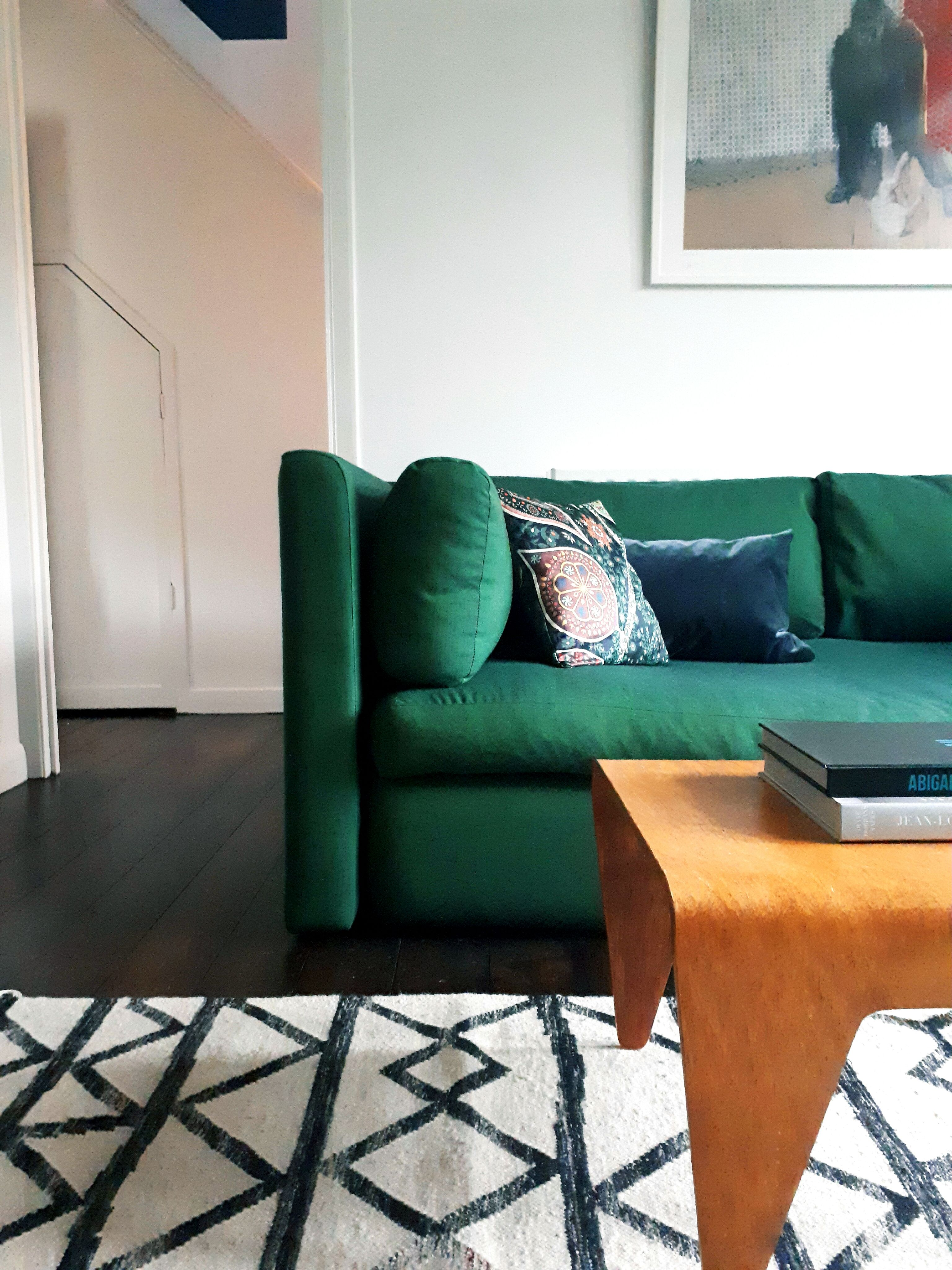 Hay Sofa Kvadrat Lowest Set Living Room Design Hackney In Remix Green Fabric And West Elm Torres Rug Interiors By Designers Residence London