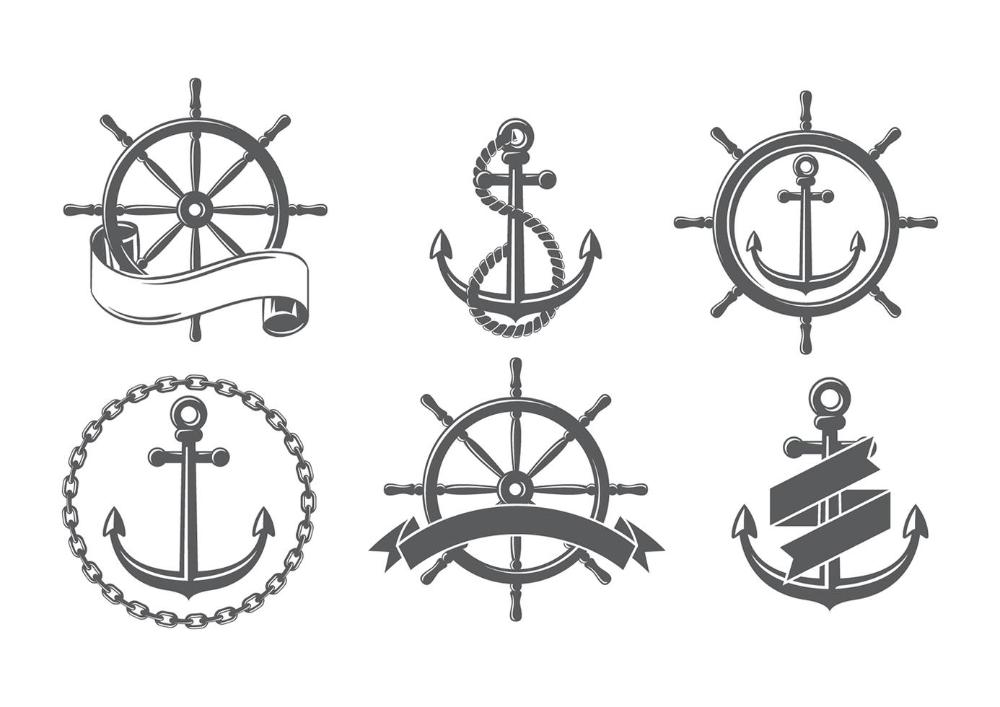 Ship Wheel Set Free Vectors Ship Wheel Vector Free Boat Icon
