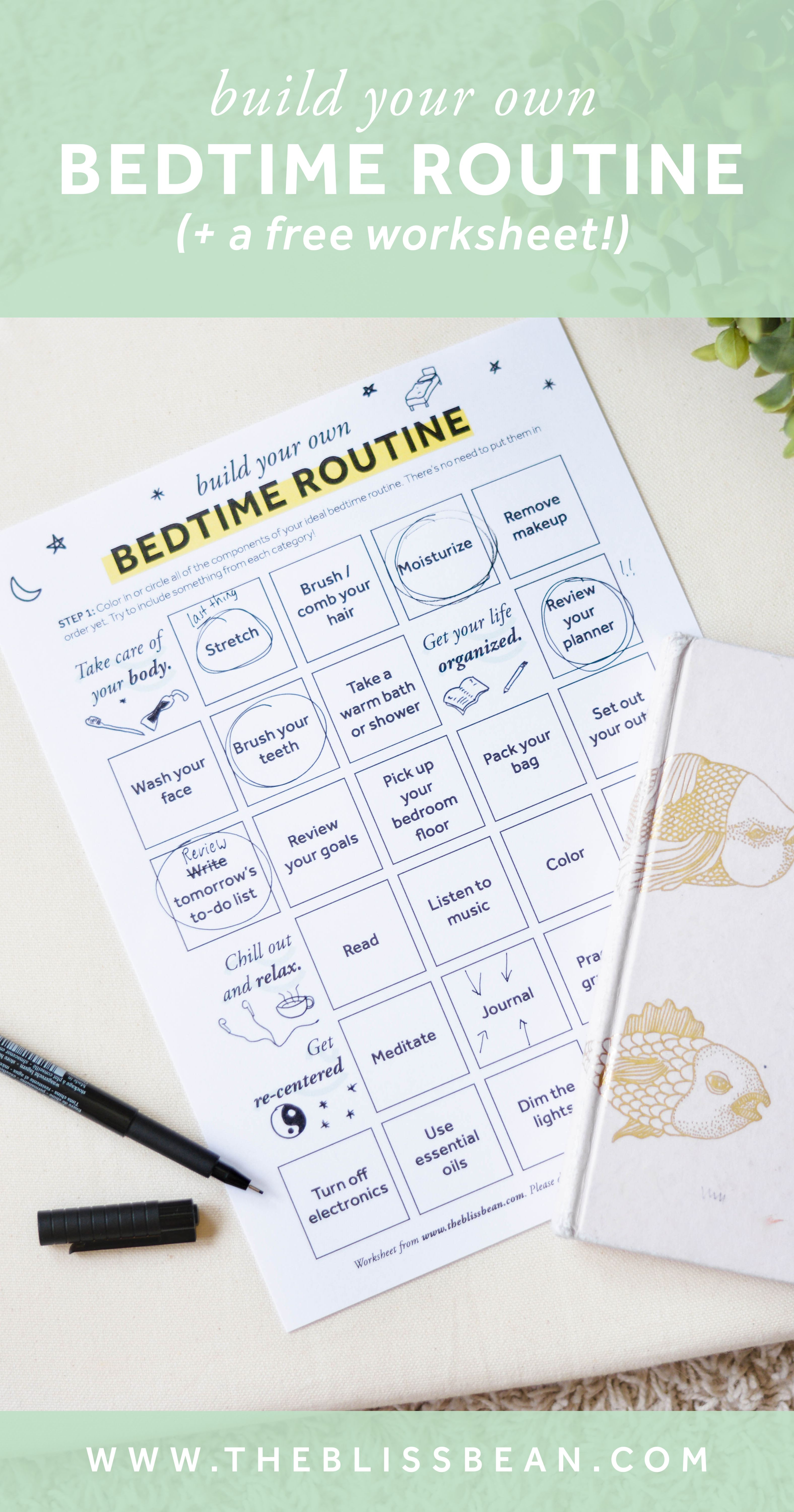 Build Your Own Bedtime Routine A Free Worksheet