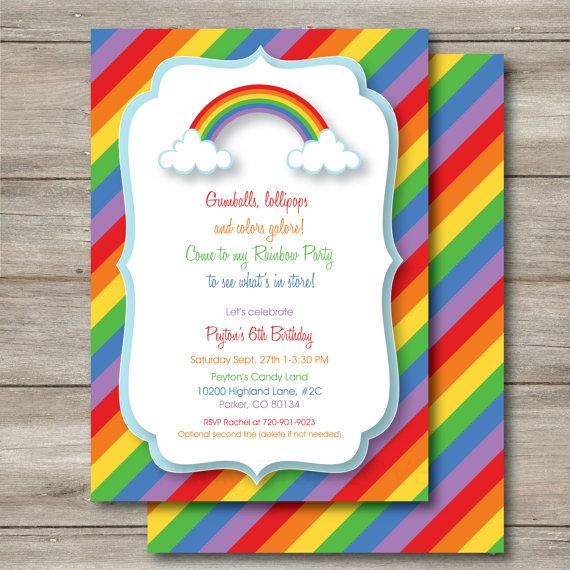 Editable Rainbow Invitation Birthday By Punkyprep On Etsy