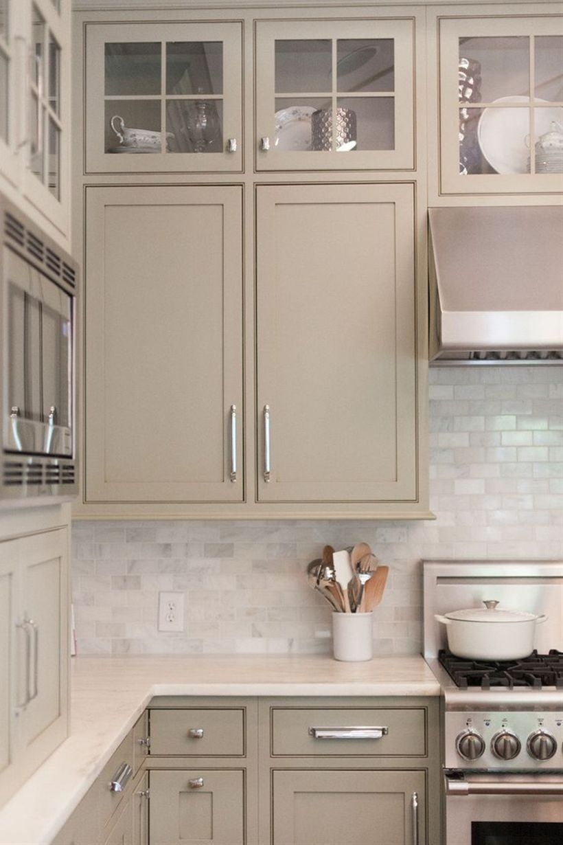 Beige kitchen - Rustic And Classic Wooden Kitchen Cabinet 6 - Beige kitchen in 2020 | Taupe ...