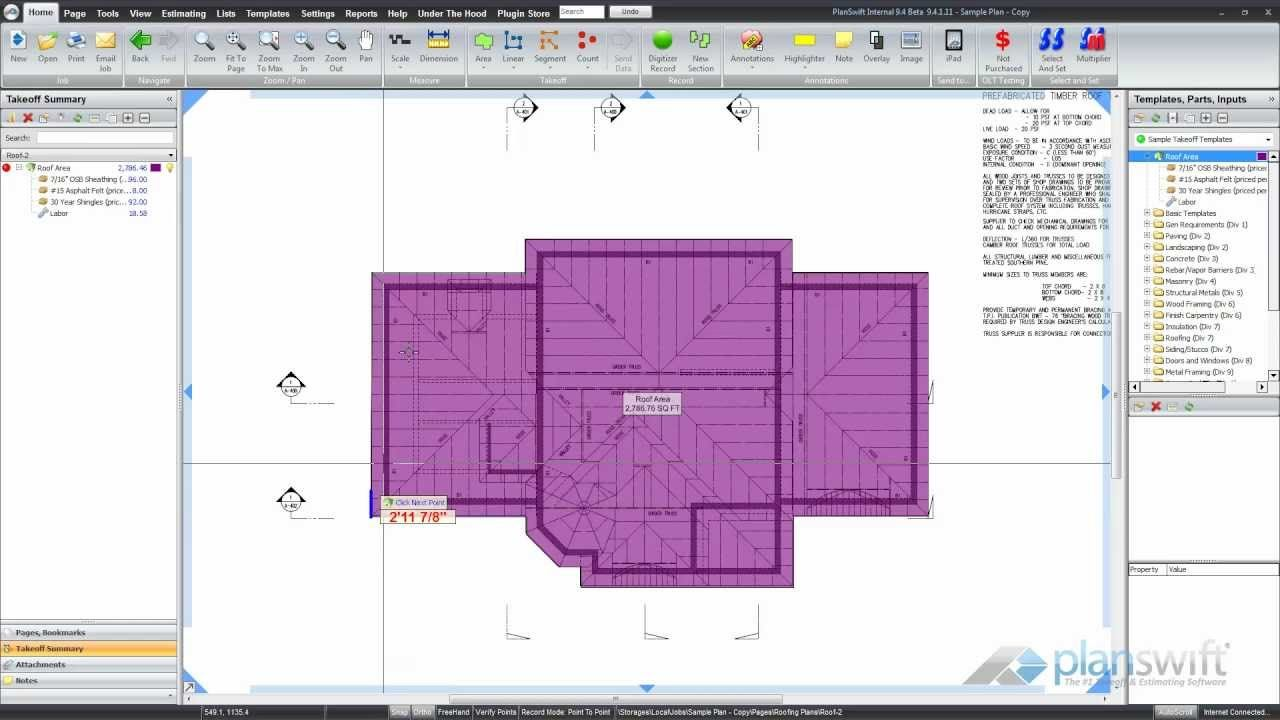Planswift How To Calculate Roof Area Osb Sheets Rolls