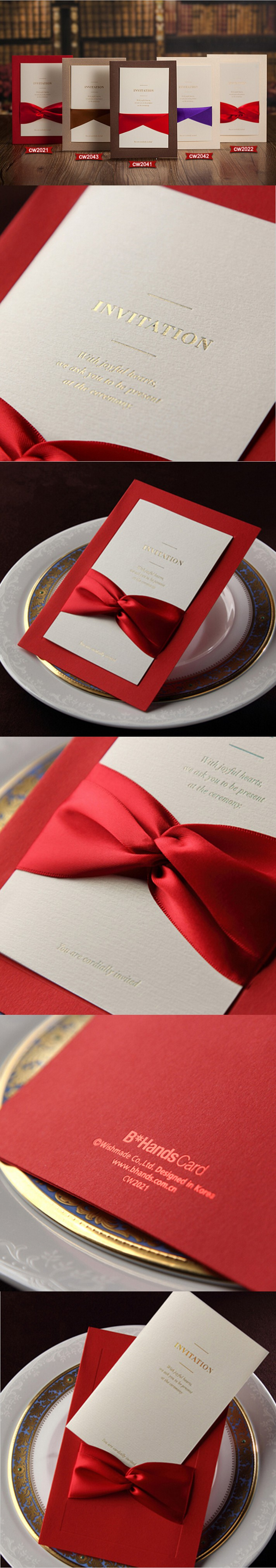 50pcs elegant Wedding Invitations with ribbon marriage invitation ...