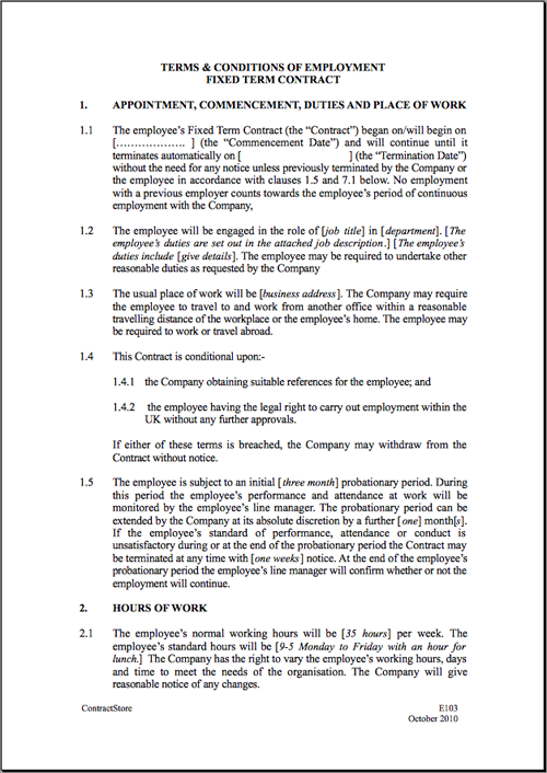 Fixed short term employment contract template for Statement of terms and conditions of employment template