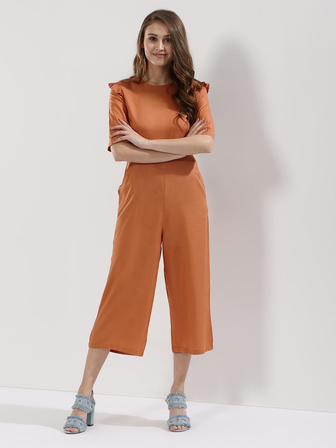 8be3b5d2e Buy Ruffle Shoulder Cropped Jumpsuit For Women - Women's Brown Jumpsuits  Online in India