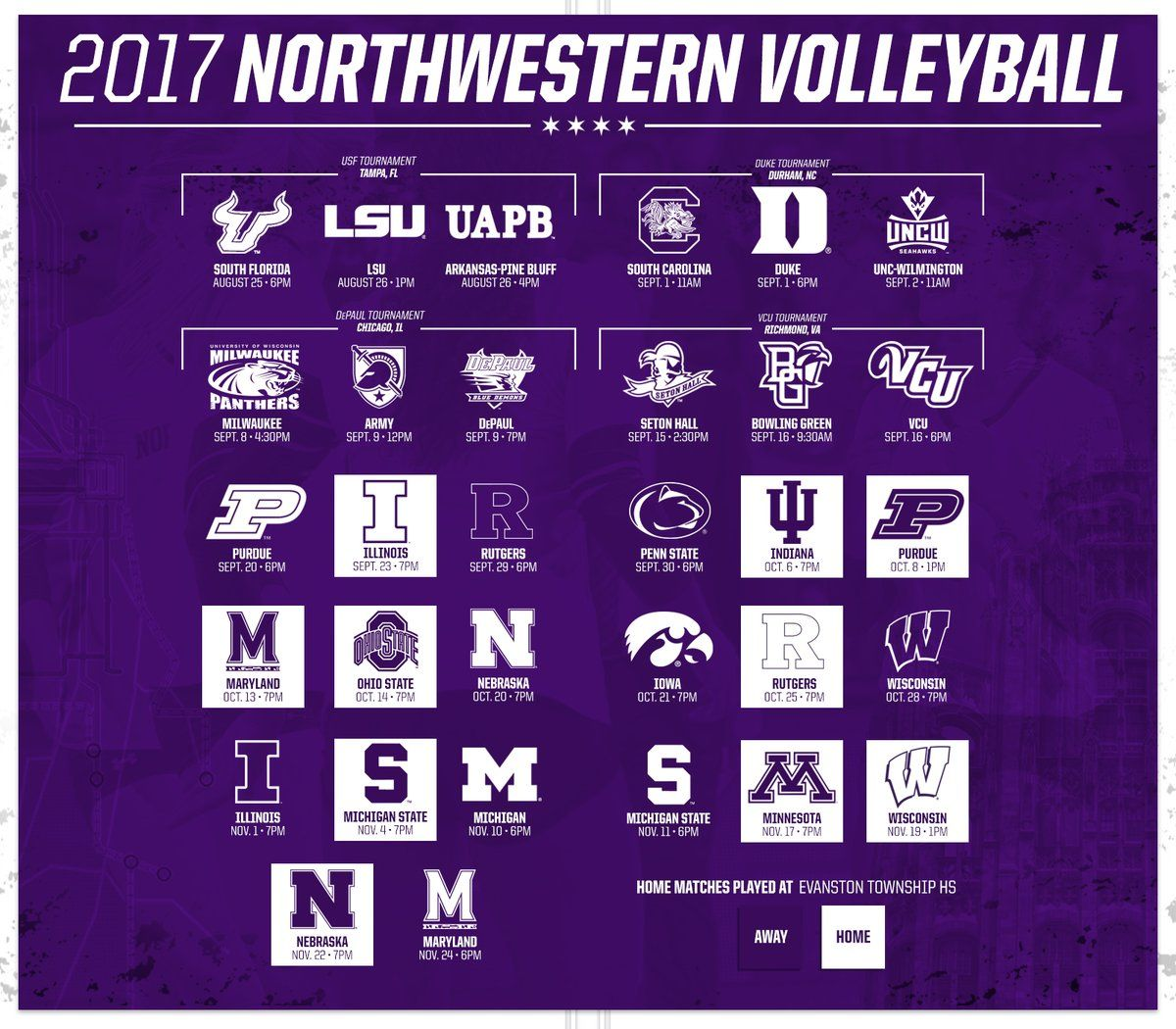 Northwestern Volleyball Poster To Announce Their Schedule At The Start Of The Season Volleyball Posters Sports Design Sports Design Inspiration