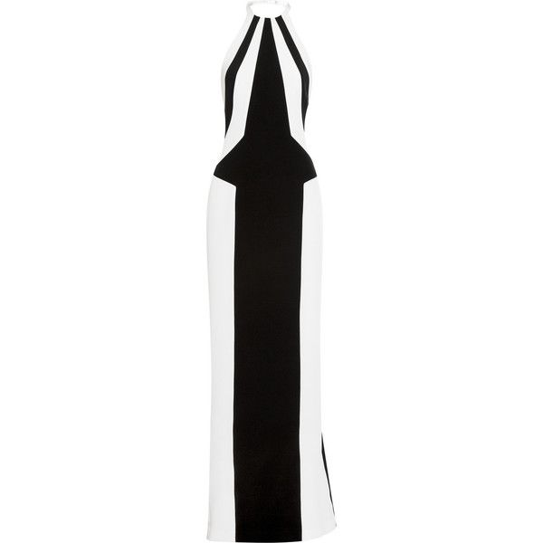 L'Wren Scott Two-tone stretch-silk crepe gown (€1.240) ❤ liked on Polyvore featuring dresses, gowns, l'wren scott, long dresses, black, short long dresses, short black evening dresses, short gown, black ball gown i short black dresses