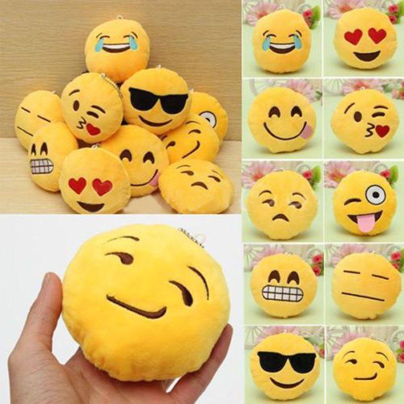 Soft Emoji Smiley Emoticon Yellow Round Cushion Stuffed Plush Toy Doll Keychain Emoji Plush Toy Dolls Doll Toys