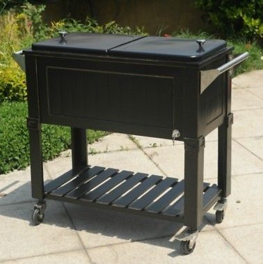 Wood Insulated Cooler On Legs | METAL Amherst 80 Qt Party Cooler Rolling  Patio Ice Chest