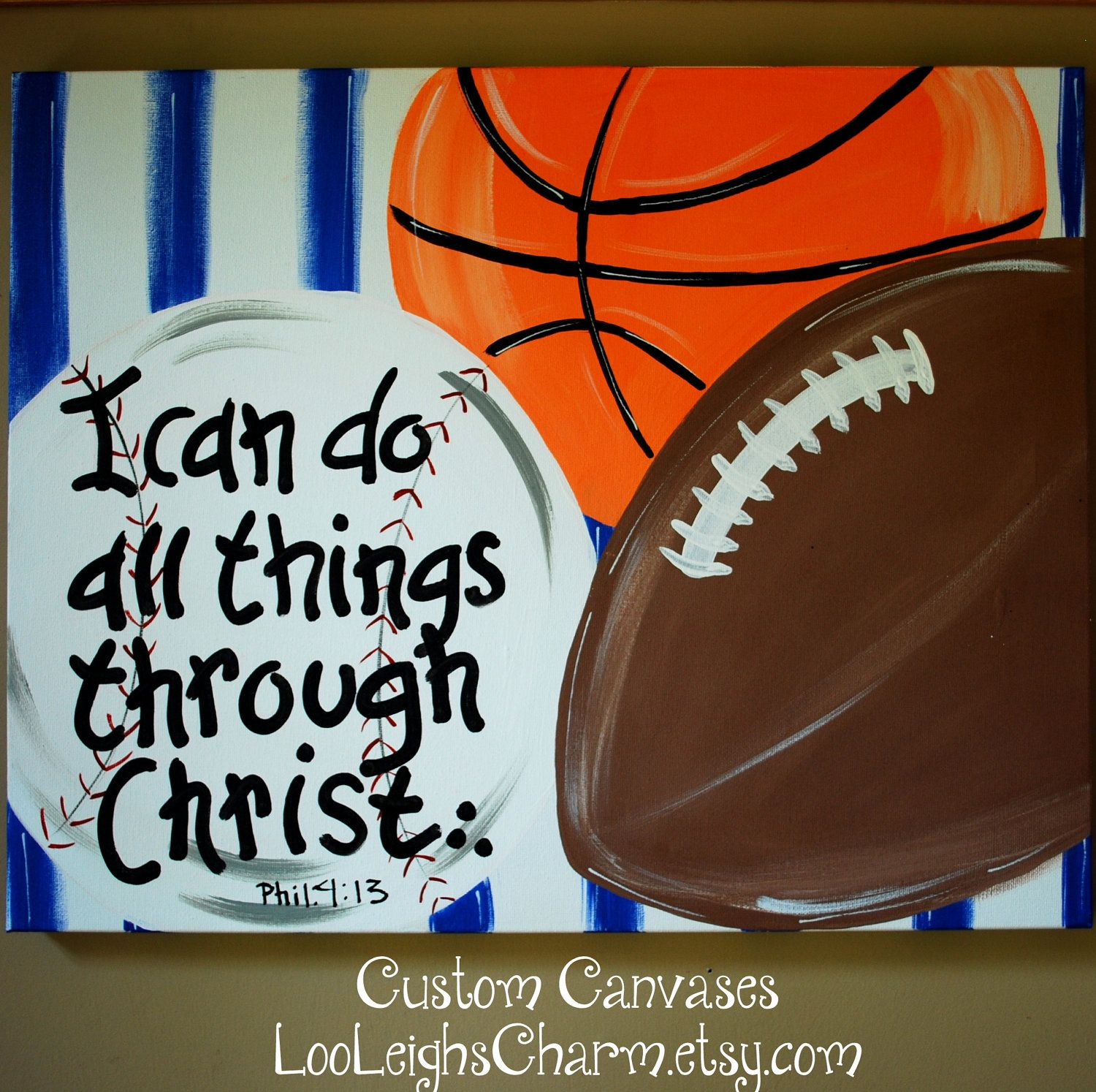 Custom Sport Canvas Bible Verse Painting Boys Room