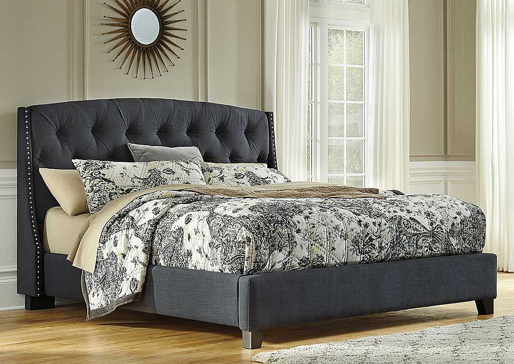 Kasidon Bed Grey Upholstered Bed Upholstered Beds Upholstered