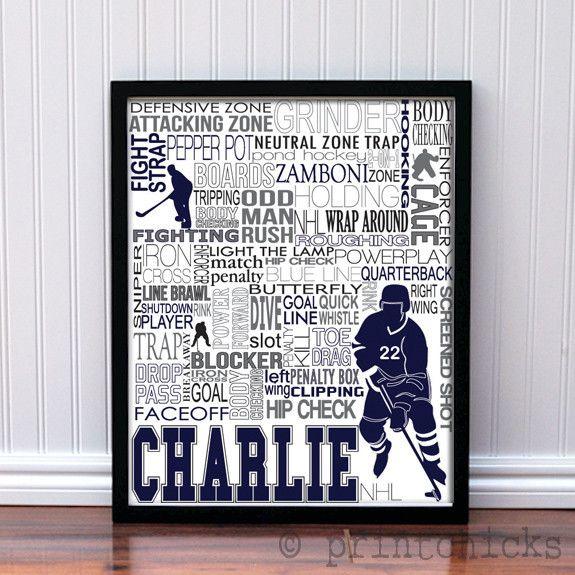 Hockey Player and Goalie Personalized Print | Hockey decor, Hockey ...