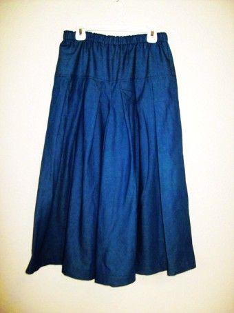 Denim Size 14 Long Culottes Modest Split Skirt