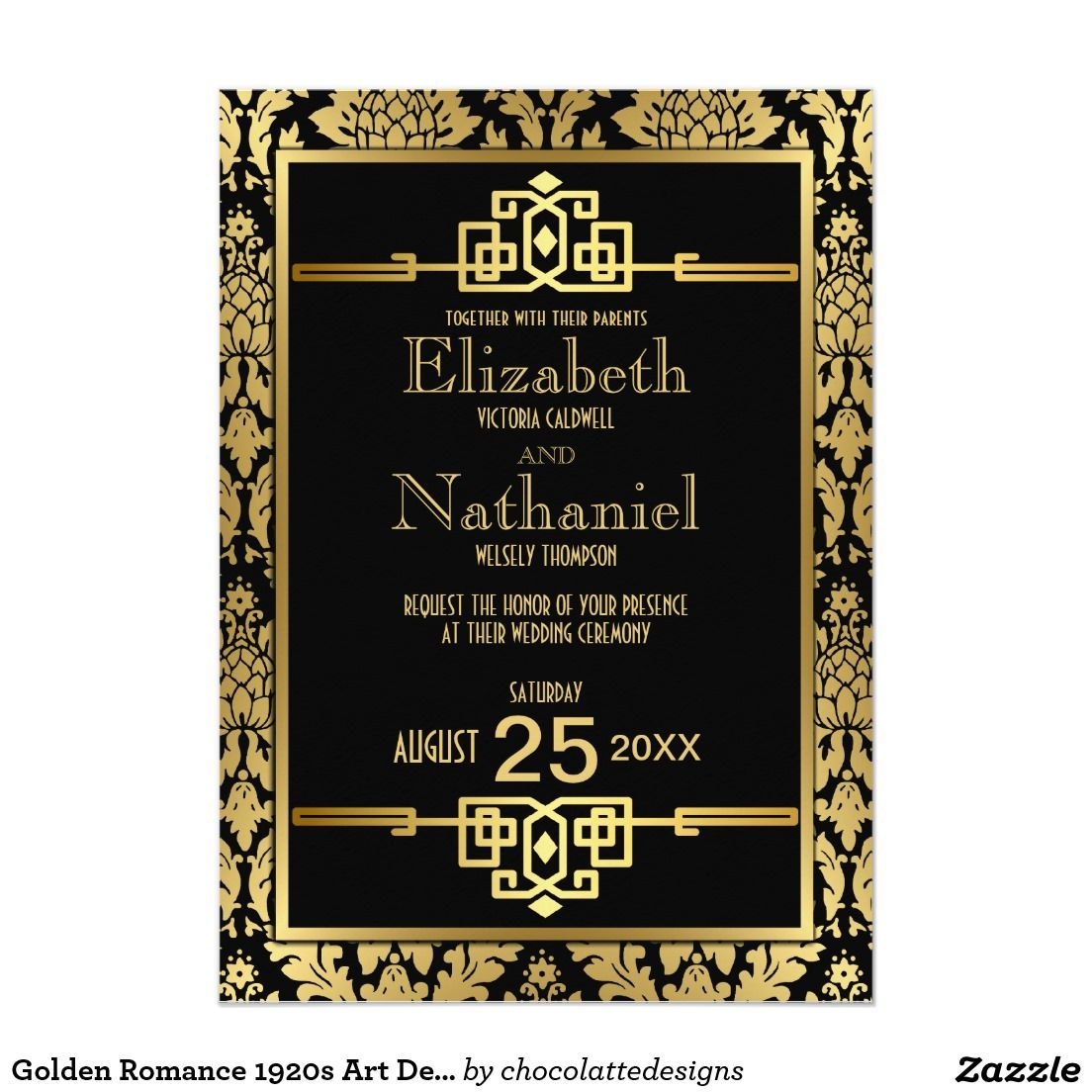 3 Piece Set 1920s Wedding Old Fashioned RSVP Details Invitation Black and Gold Art Deco Wedding Invitation Set INSTANT DOWNLOAD