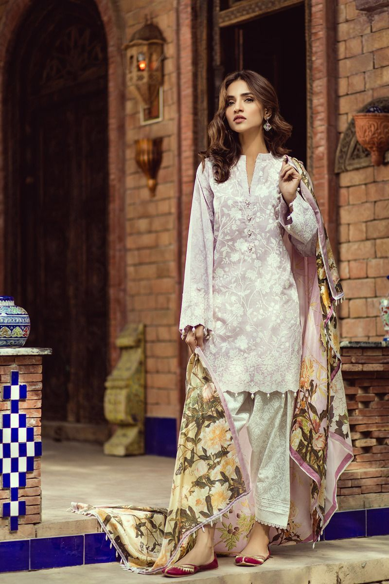 Graceful Embroidered white 3 piece unstitched pret by Kapray online ...