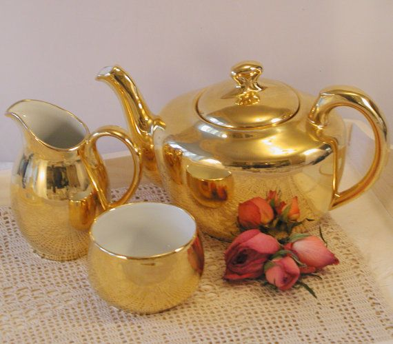 Vintage Royal Worcester Gold Lustre Teapot Milk And Sugar