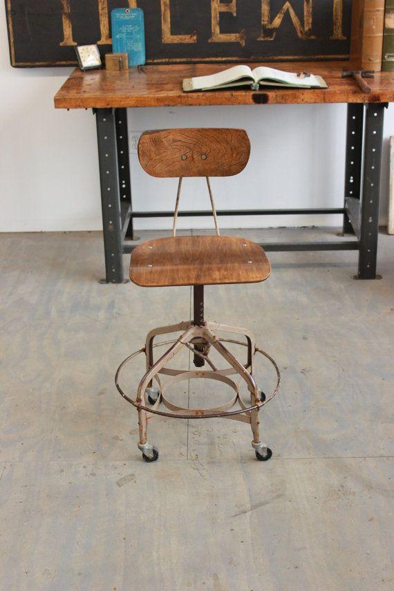 Vintage Industrial Toledo Uhl Draftsman Stool By