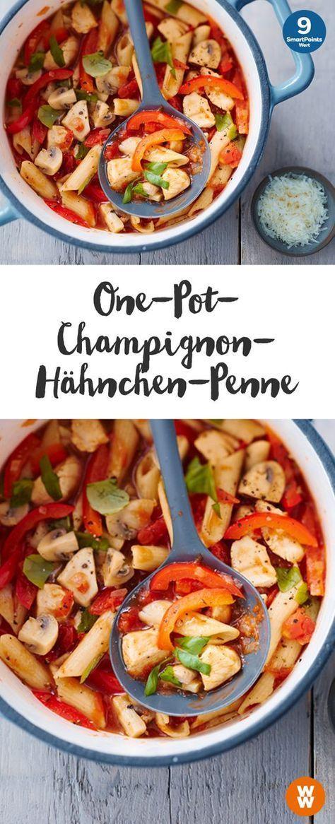 one pot champignon h hnchen penne rezept gerichte pinterest essen leichte kost und rezepte. Black Bedroom Furniture Sets. Home Design Ideas