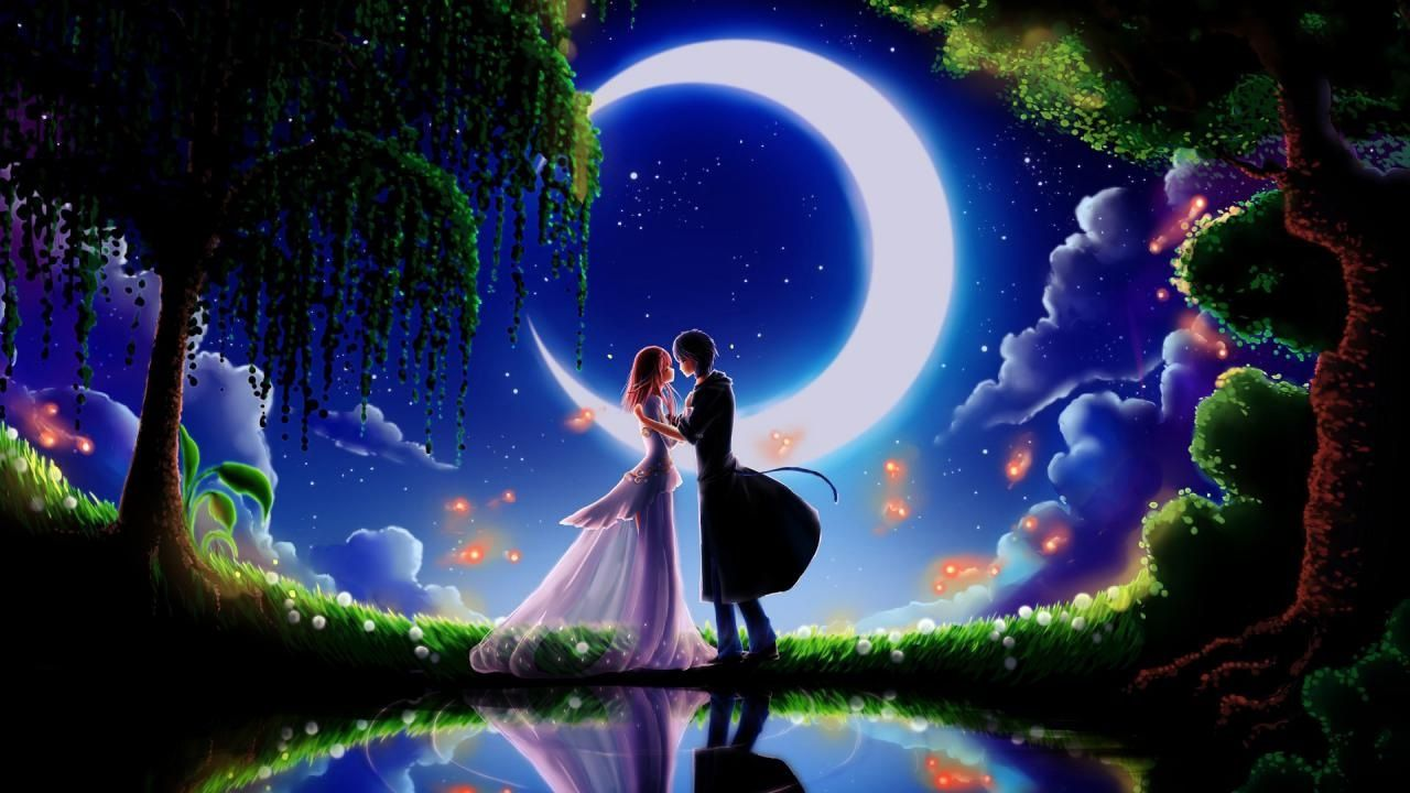 Bright Good Night Couples Kiss Full Hd Wallpaper Hd Wallpapers