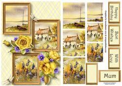 Seaside Cottage & Roses Frame Trio