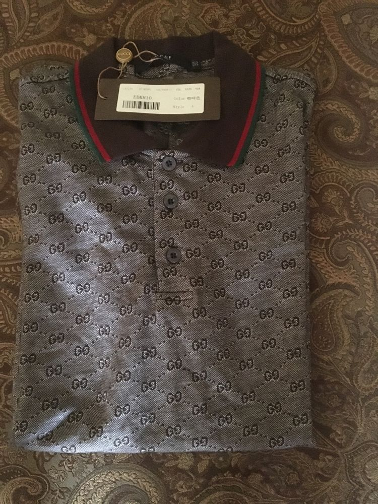 3215c8a94a9 Gucci Brown Jacquard Polo Shirt with GG Monogram Size Large New with Tags 50
