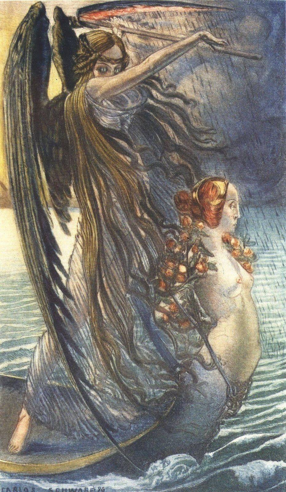 Carlos Schwabe La Mort Art Esoteric Art 19th Century Art