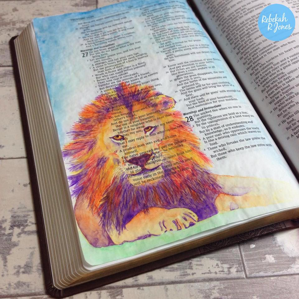 Bible Art Journaling Challenge Week 3  How To Paint A Lion With Watercolor  Pencils Video