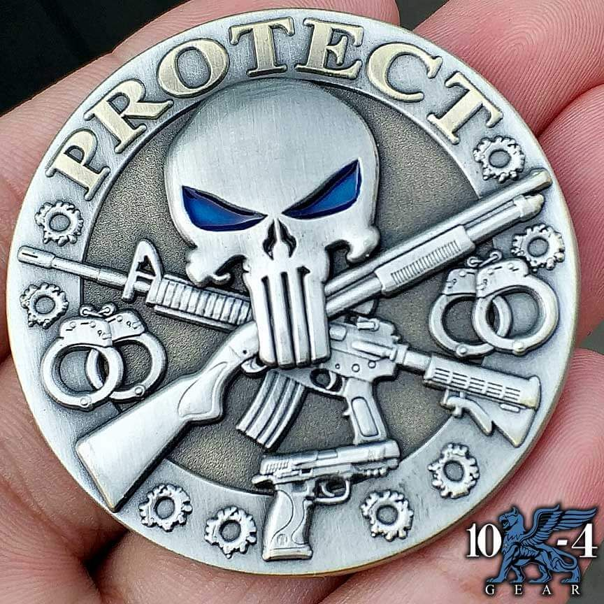 Protect And Serve Police Challenge Coin Police Challenge Coins