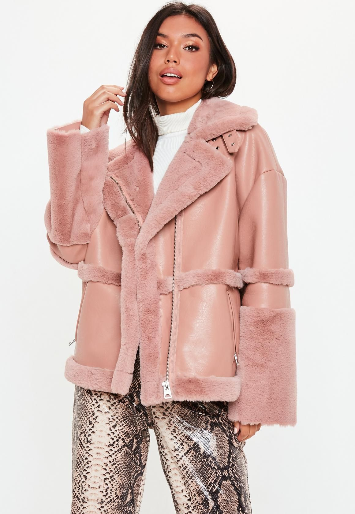 30690d9565 Women's Winter Clothes and Fashion. Missguided - Pink Faux Fur Aviator  Jacket