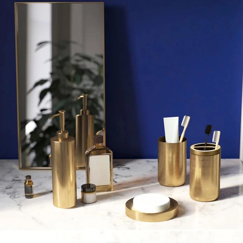 Golden Bronze Stainless Steel Bathroom Accessories Kit Toothbrush Hold Gold Bathroom Accessories Stainless Steel Bathroom Accessories Bathroom Accessories