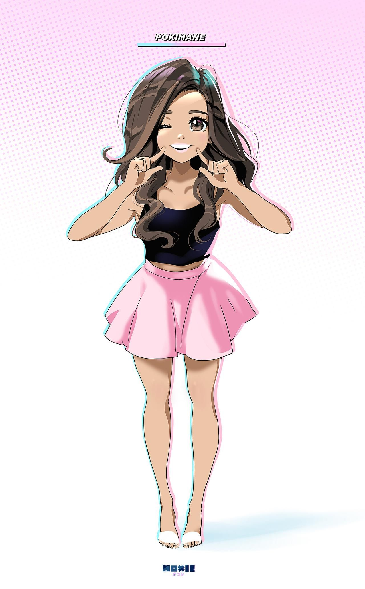 Pokimane Anime By Moxie2d On Deviantart Pretty Girl Face Anime Cute Girl Outfits