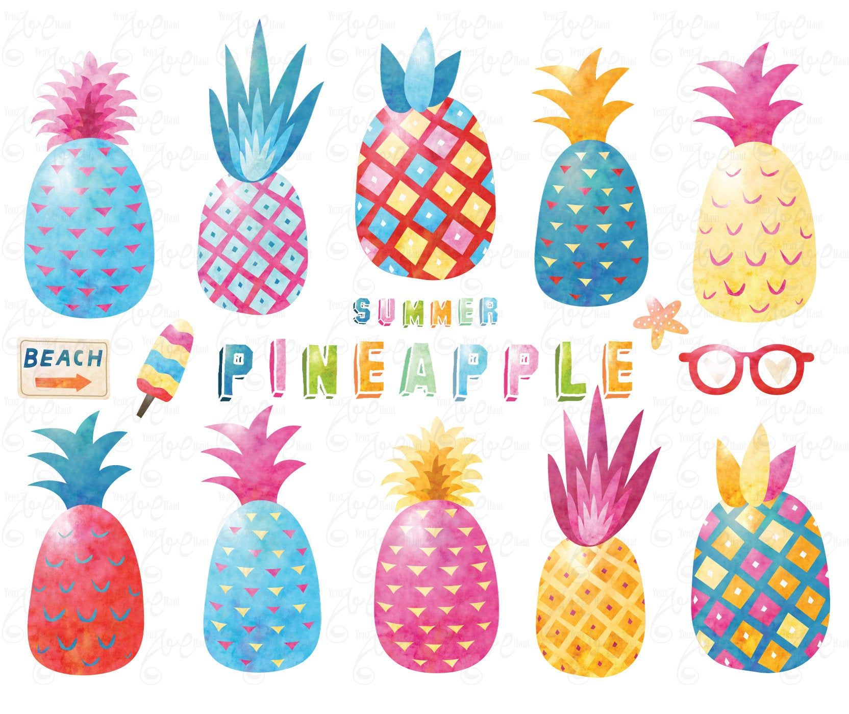 Watercolor Pineapple Watercolor Pineapple Clipart Cute