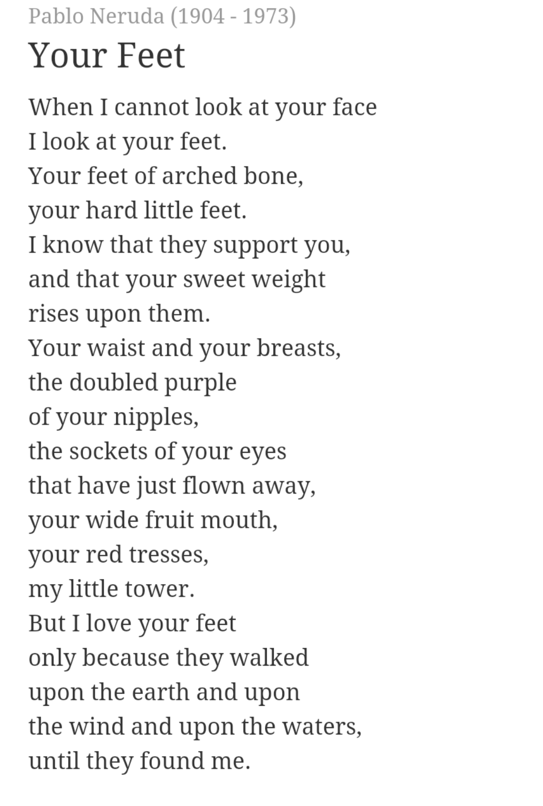 Free Love Poems And Quotes Your Feet Pablo Neruda  Google Search  Love Interest  Pinterest