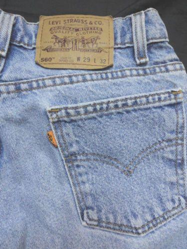 vinatge LEVI'S 560 Jeans men boys 29x32 Light Wash denim pant loose taiper leg