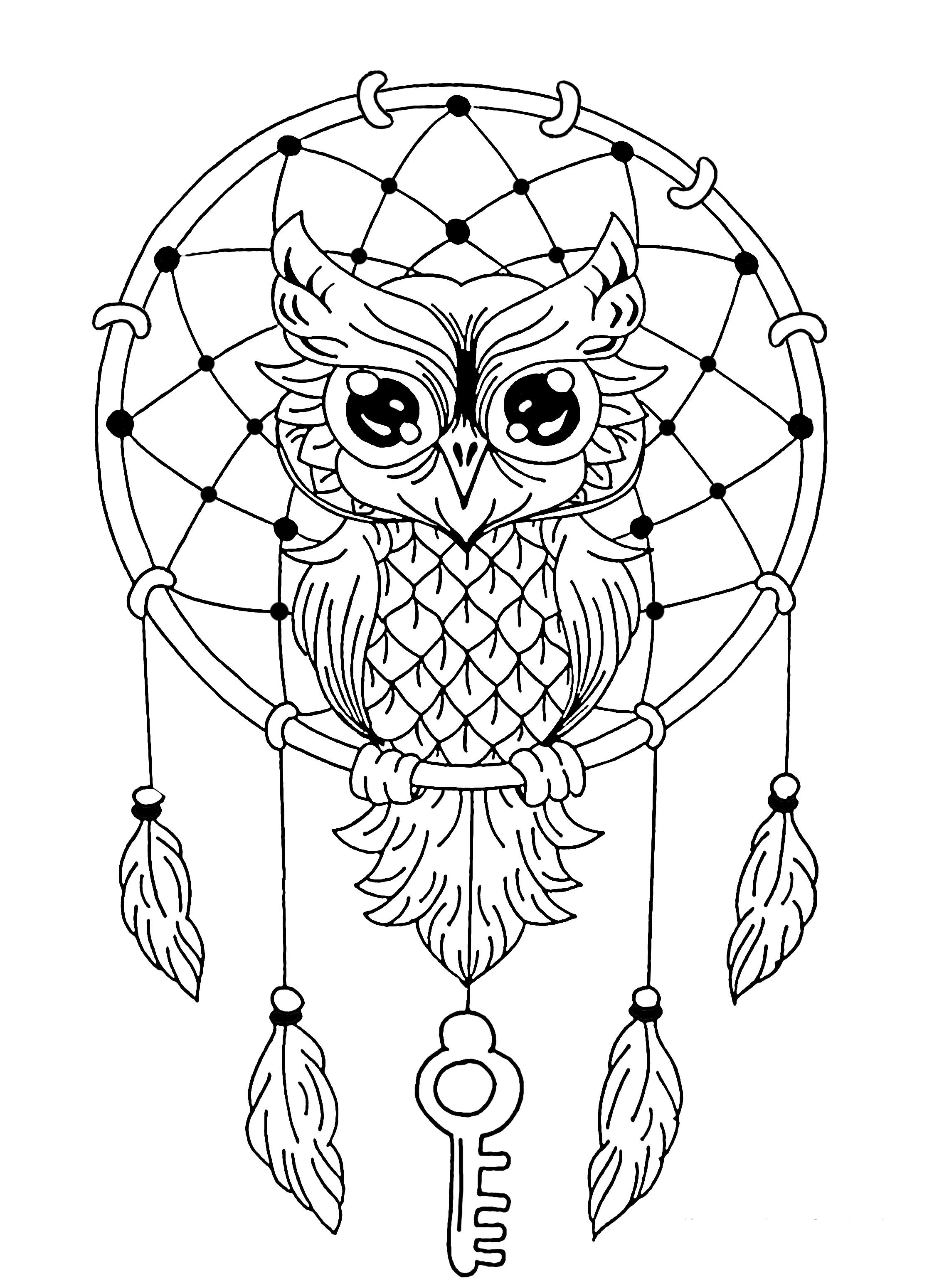 Owl Dreamcatcher The Blog Coloring Pages For Adults Just Color