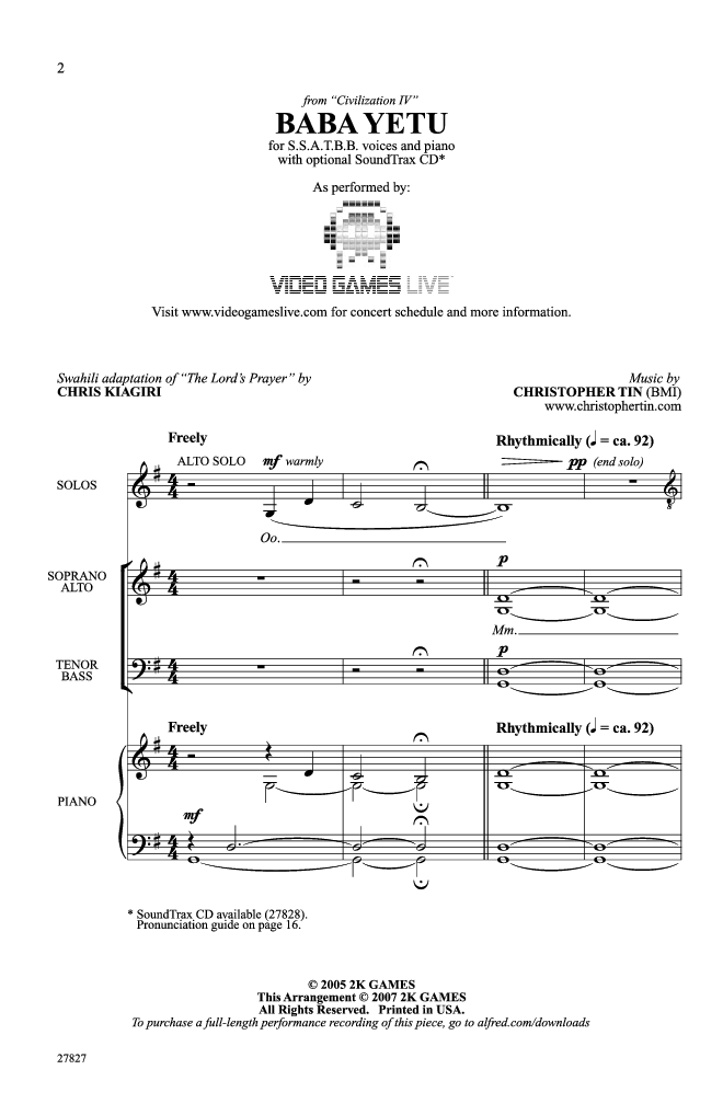Baba Yetu (SSATBB ) by Chris Kiagiri & Chris | J.W. Pepper Sheet ...
