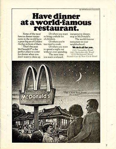 McDonalds Vintage Magazine Ad Have Dinner At A World Famous Restaurant